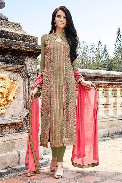 Olive Green Embroidered Pure Georgette Embellished Straight Cut Suit
