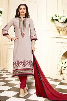 Beige Printed Cotton Slik Salwar Kameez By Karishma