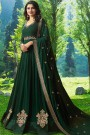 Anarkali Suit with Floral Zari Embroidery in Dark Green