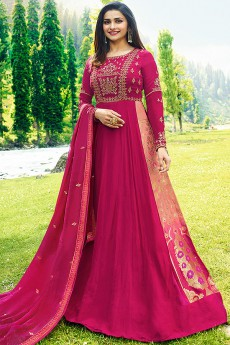 Zari Embroidered Georgette Anarkali Suit in Magenta