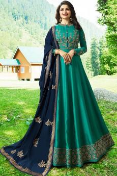 Prachi Desai's Anarkali Suit with Floral Zari Embroidery in Emerald Green