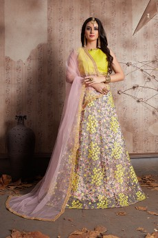 Floral Embroidered Pale Pink Net Lehenga with Yellow Choli