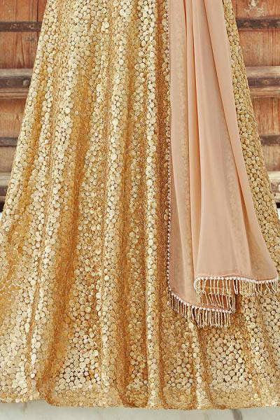 Glittering Golden Designer Lehenga Choli with Sequins Work in Net