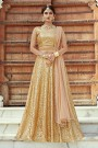 Glittering Golden Designer Lehenga Choli with Sequins Work in Net
