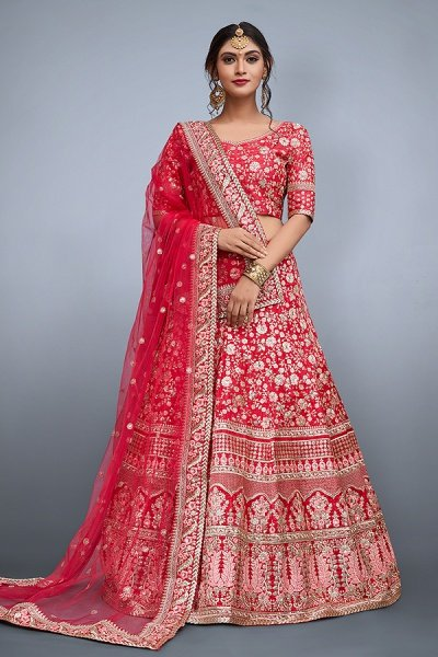 Raspberry Red Lehenga Choli with Floral Zari & Sequins Embroidery in Raw Silk
