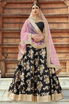 Black Lehenga Choli with Floral Zari & Sequin Embroidery in Crepe Silk With Baby Pink Net Dupatta