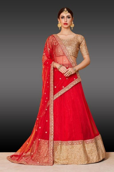 Ravishing Red Golden Lehenga Choli in Net With Sequins work