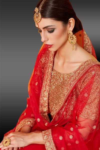Ravishing Red Golden Lehenga Choli in Net With Sequin work