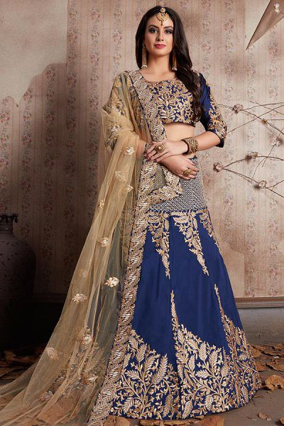 Navy Blue Designer Lehenga Choli with Zari Embroidery in Art Silk