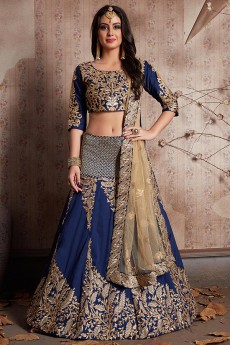 Navy Blue Designer Lehenga Choli with Zari Embroidery in Art Silk