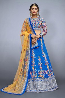 Royal Blue Floral Embroidered Raw Silk Designer Lehenga Choli