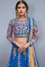 Royal Blue Floral Embroidered Raw Silk Designer Lehenga Choli