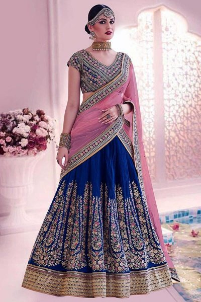 Navy Blue & Pink Lehenga Choli In Handloom Silk With Floral Zari Embroidery