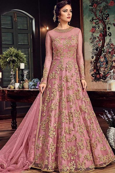 Blush Pink Floor-Length Anarkali Suit with Zari Embroidery in Net