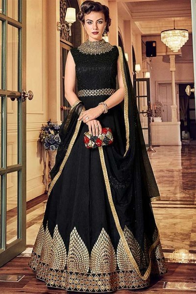Black Floor-Length Anarkali Suit with Zari Embroidery in Net & Raw Silk