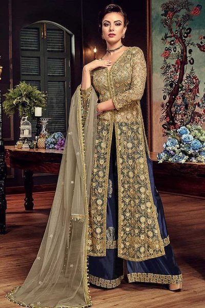 Palazzo Suit in Beige Net & Navy Blue Block Print Silk with Zari Embroidery