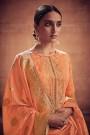 Pale Tangerine Embroidered Salwar Suit in Digital Print Cotton Silk with Pants & Banarasi Weave Dupatta
