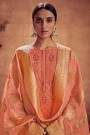Peach Embroidered Salwar Suit in Digital Print Cotton Silk with Pants & Banarasi Weave Dupatta