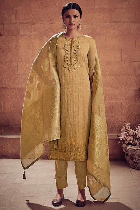 Earthy Beige Brown Embroidered Salwar Suit in Digital Print Cotton Silk with Pants & Banarasi Weave Dupatta