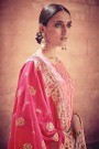 Pink Ombre Salwar Suit with Embroidery in Digital Print Cotton Silk with Pants & Banarasi Weave Dupatta