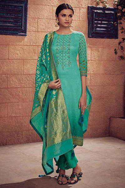 Green Ombre Embroidered Salwar Suit in Digital Print Cotton Silk with Chic Pants & Banarasi Weave Dupatta