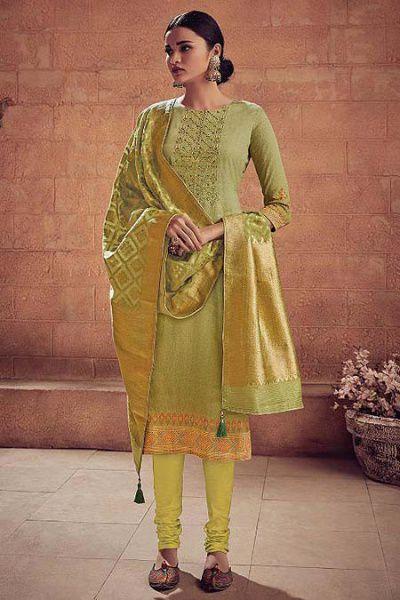 Cardomom Green Embroidered Salwar Suit in Digital Print Cotton Silk Banarasi Weave Dupatta