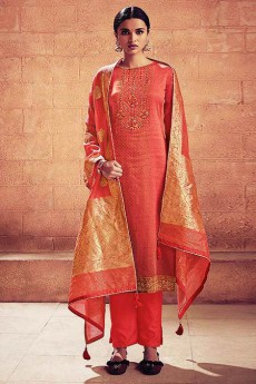 Brick Red Embroidered Salwar Suit in Digital Print Cotton Silk with Pants & Banarasi Weave Dupatta