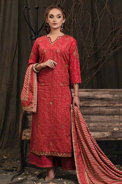 Brick Red Palazzo Suit in Digital Print Katha Silk with Gota Patti Work