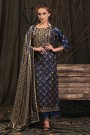 Navy Blue Palazzo Suit in Digital Print Katha Silk with Gota Patti Work