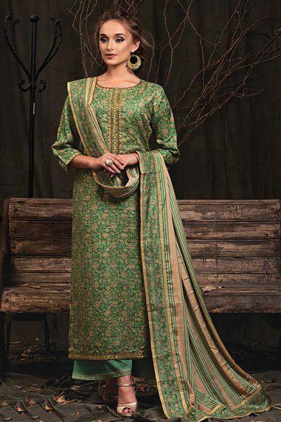 Green Palazzo Suit in Digital Print Katha Silk with Gota Patti Work