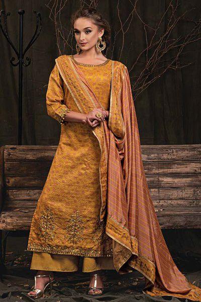 Mustard Palazzo Suit in Digital Print Katha Silk with Gota Patti Work