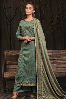 Teal Palazzo Suit in Digital Print Katha Silk with Gota Patti Work