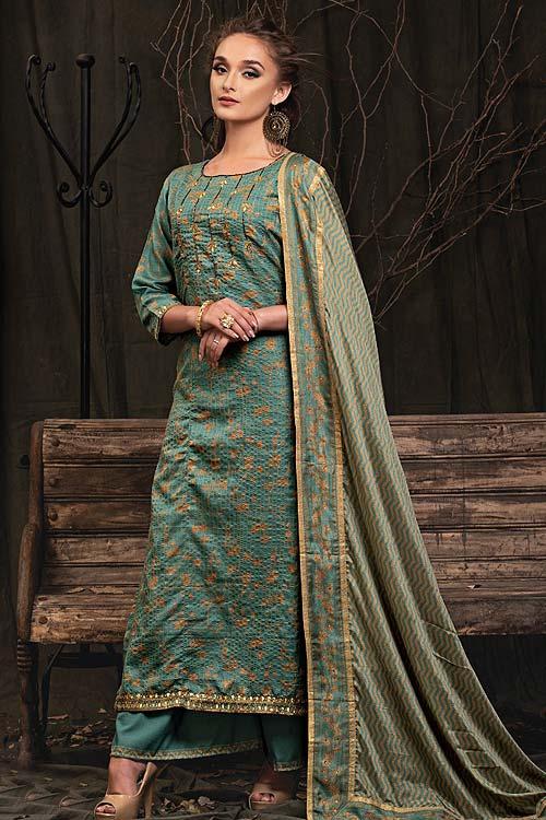 Teal Palazzo Suit in Digital Print Katha Silk with Gota Patti Work