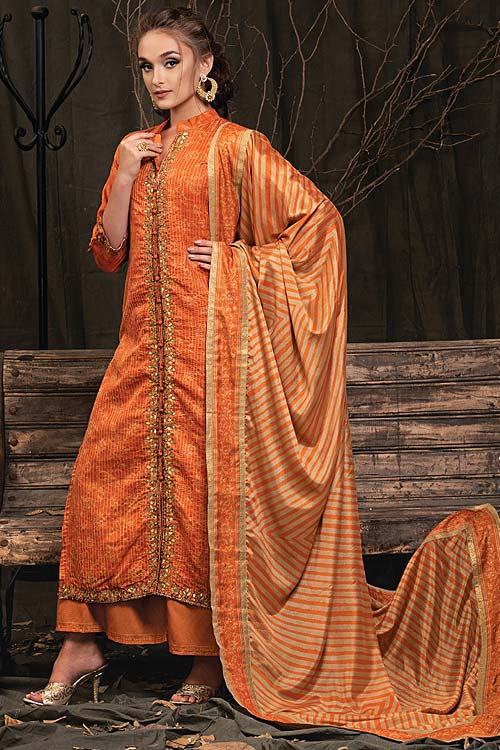 Burnt Orange Palazzo Suit in Digital Print Katha Silk with Gota Patti Work