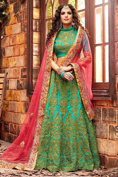 Designer Lehenga Choli in Pink & Turquoise Green in Embroidered Chanderi Silk