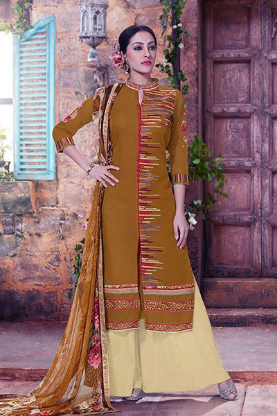 Rusty Brown Embroidered Palazzo Suit in Cotton With Printed Dupatta