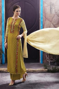 Mehandi Green Salwar Suit in Digital Print Georgette