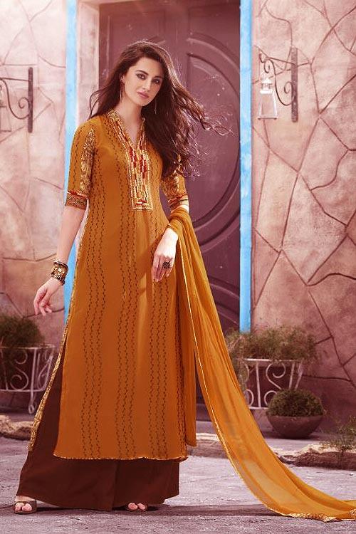 Casual Orange Digital Printed Georgette Palazzo Suit