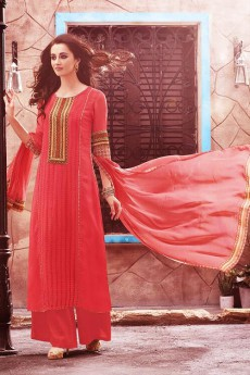 Casual Coral Pink Digital Printed Georgette Palazzo Suit
