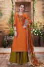 Orangish Brown Palazzo Suit in Printed Georgette With Printed Dupatta