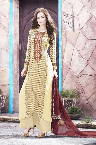 Beige Printed Georgette Palazzo Suit with Brown Dupatta