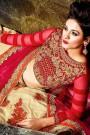 Designer Lehenga Choli in Beige & Ruby Red with Zari Embroidery in Velvet & Net