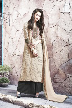 Casual Beige Digital Printed Georgette Palazzo Suit