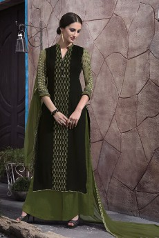 Palazzo Suit in Dark Moss Green Digital Print Georgette