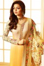 Light Yellow Ombre Churidar Salwar Kameez with Floral Embroidery in Satin Silk