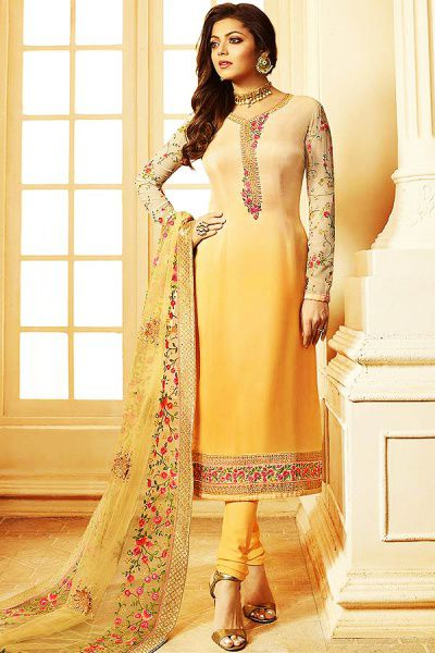 d9662aa80d Buy Light Yellow Ombre Churidar Salwar Kameez With Floral Embroidery In Satin  Silk Online | Like A Diva