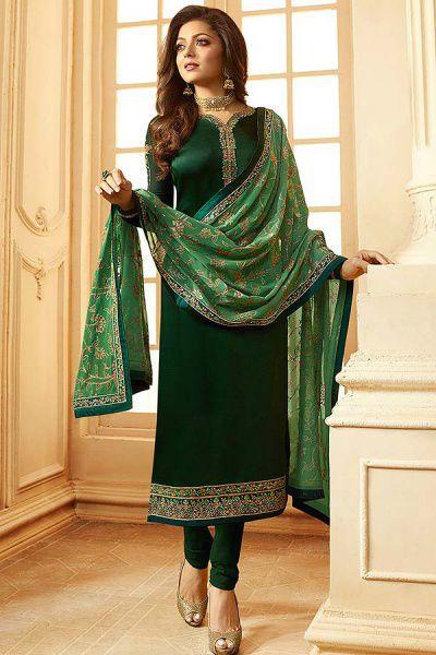 Deep Green Churidar Salwar Kameez with Floral Embroidery in Satin Silk