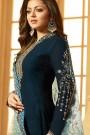 Dark Teal Blue Churidar Salwar Kameez with Floral Embroidery in Georgette