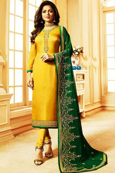 Yellow Churidar Salwar Kameez with Floral Embroidery in Satin Silk With Green Georgette Dupatta