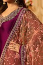 Sangria Purplish Pink Churidar Salwar Kameez with Floral Embroidery in Satin Silk